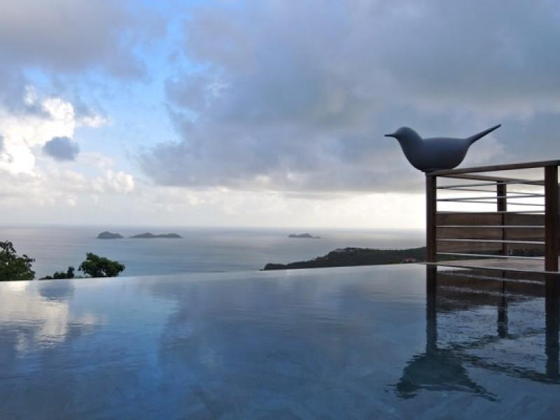 Location villa piscine à débordement Saint Barth